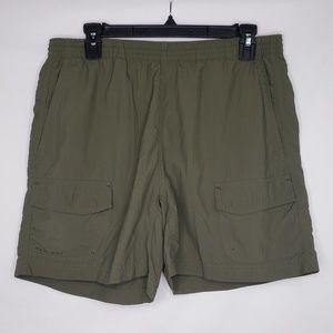 Columbia Green Elastic Waist Nylon Shorts